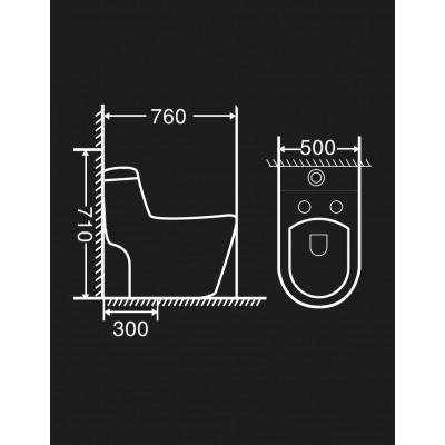 Kích thước của bàn cầu một khối GAMA GMBC969