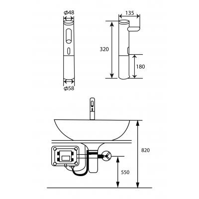 Kích thước vòi cảm ứng một đường nước lạnh GAMA GMC609AB