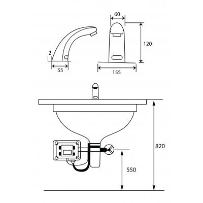 Kích thước vòi cảm ứng một đường nước lạnh GAMA GMC618AB