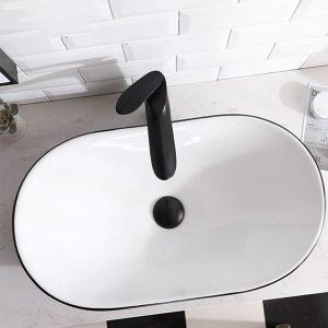 Chậu rửa Lavabo đặt bàn T.PID-2103X trắng + đen