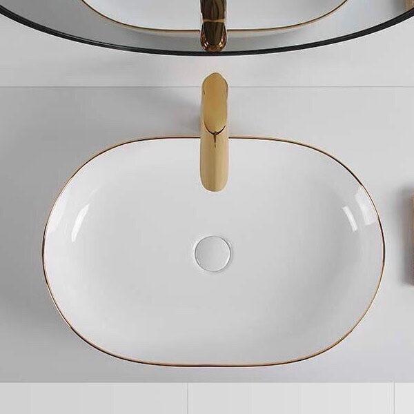Chậu rửa Lavabo đặt bàn T.YES-RS1395WRGL trắng viền vàng