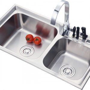Chậu rửa chén 2 hố lệch inox 304 T.IBA-7643AH trắng bạc