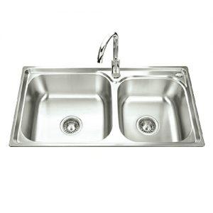 Chậu rửa chén 2 hố lệch inox 304 T.IBA-7843H