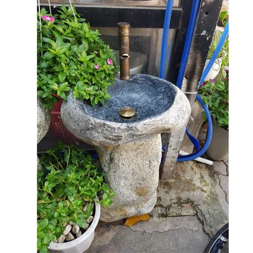 Bộ chậu rửa Lavabo đá cuội xanh