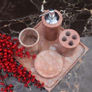 Set phụ kiện cốc và ống đựng bàn chải bằng đá tự nhiên