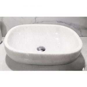 Chậu rửa Lavabo bầu dục màu trắng