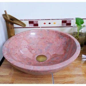 Chậu rửa Lavabo đá tự nhiên màu hồng