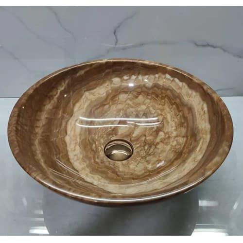 Chậu rửa Lavabo đá tự nhiên màu vân gỗ