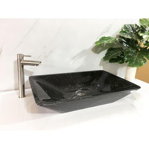 Chậu rửa Lavabo hình chữ nhật màu đen vát cạnh