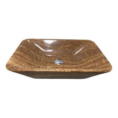 Chậu rửa Lavabo hình chữ nhật màu vân gỗ vát cạnh