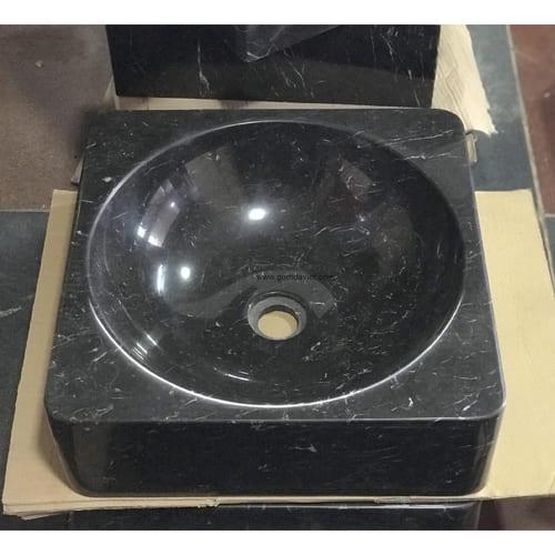 Chậu rửa Lavabo hình vuông dày lòng tròn màu đen mài mờ