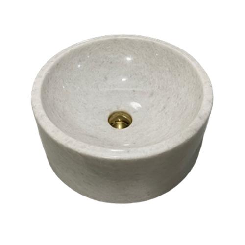 Chậu rửa Lavabo tròn dày màu trắng đáy thẳng