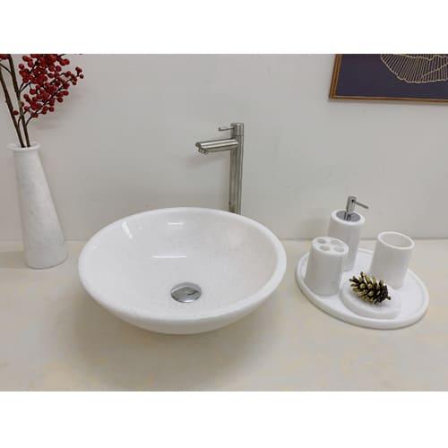 Chậu rửa Lavabo tròn dày màu trắng (không vân)