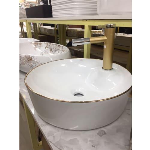 Chậu rửa Lavabo tròn dày màu trắng sữa