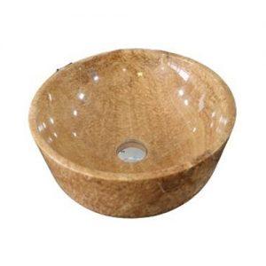 Chậu rửa Lavabo tròn dày màu vàng vân gỗ đáy thẳng