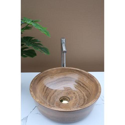 Chậu rửa Lavabo tròn dày màu vàng vân gỗ