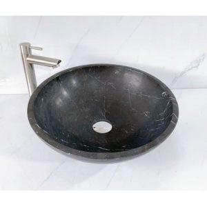 Chậu rửa Lavabo tròn mỏng màu đen mài mờ