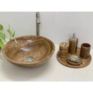 Chậu rửa Lavabo tròn mỏng màu ghi, có lẫn sợi và hạt vàng