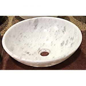 Chậu rửa Lavabo tròn mỏng màu trắng (có vân)