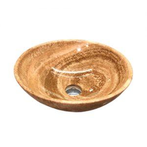 Chậu rửa Lavabo tròn mỏng màu vàng vân gỗ