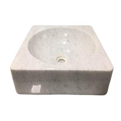 Chậu rửa Lavabo vuông dày màu trắng