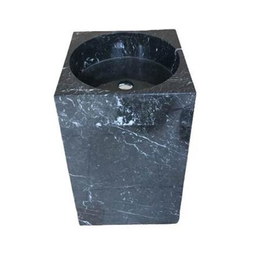 Chậu rửa Lavabo vuông đứng màu đen nguyên khối