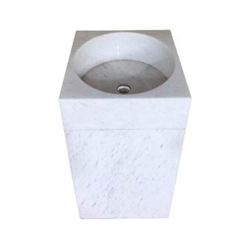 Chậu rửa Lavabo vuông đứng màu trắng nguyên khối