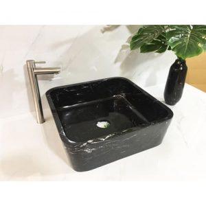 Chậu rửa Lavabo vuông mỏng màu đen