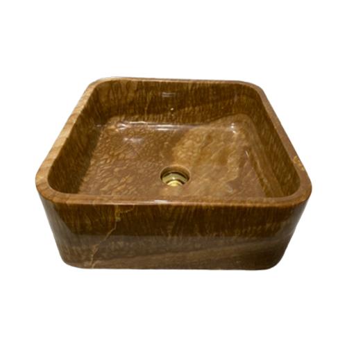 Chậu rửa Lavabo vuông mỏng màu vàng vân gỗ