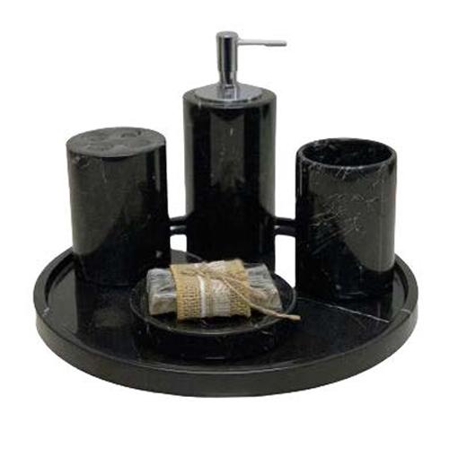 Set phụ kiện phòng tắm đá tự nhiên màu đen