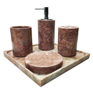Set phụ kiện phòng tắm đá tự nhiên màu hồng