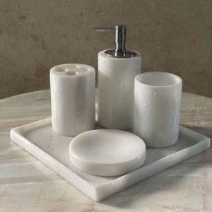 Set phụ kiện phòng tắm đá tự nhiên màu trắng