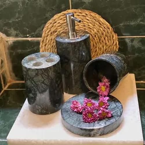 Set phụ kiện phòng tắm đá tự nhiên màu xanh Ấn Độ