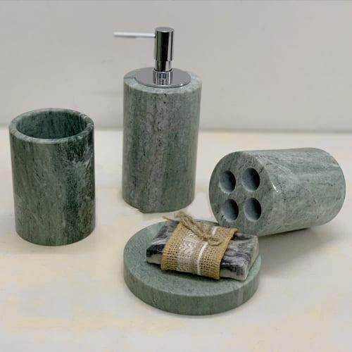 Set phụ kiện phòng tắm đá tự nhiên màu xanh HB
