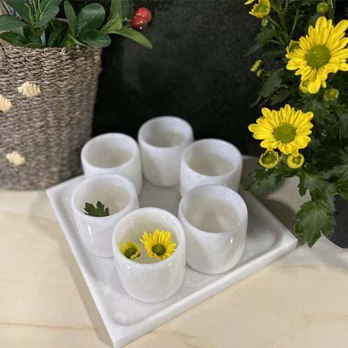Bộ 6 cốc uống nước và khay đựng bằng đá tự nhiên